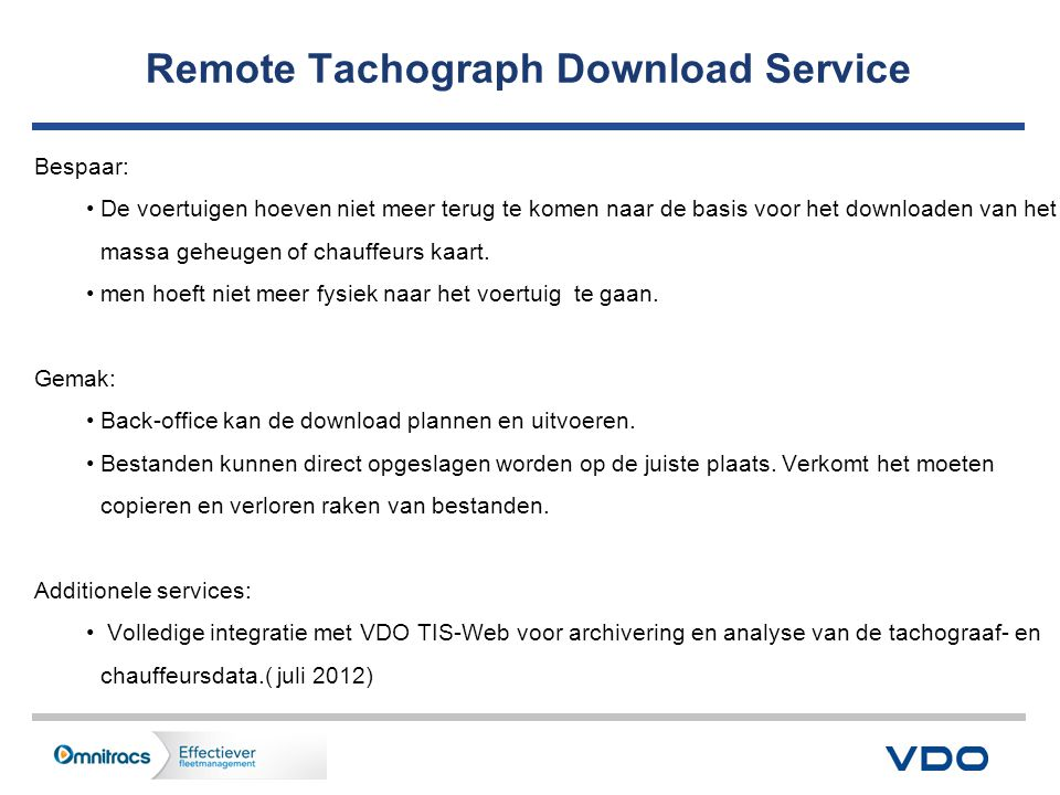 Remote Tachograph Download Service