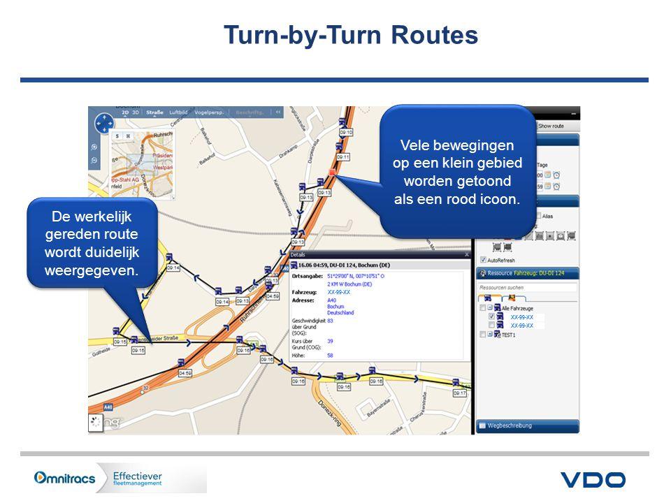 Turn-by-Turn Routes XX-99-XX. De werkelijk gereden route wordt duidelijk weergegeven.