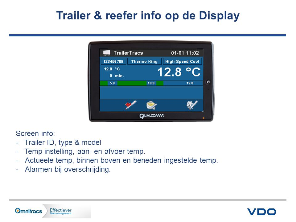 Trailer & reefer info op de Display