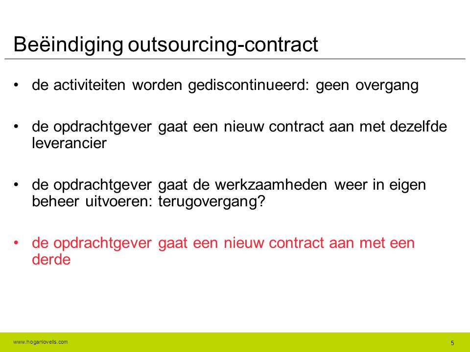 Beëindiging outsourcing-contract