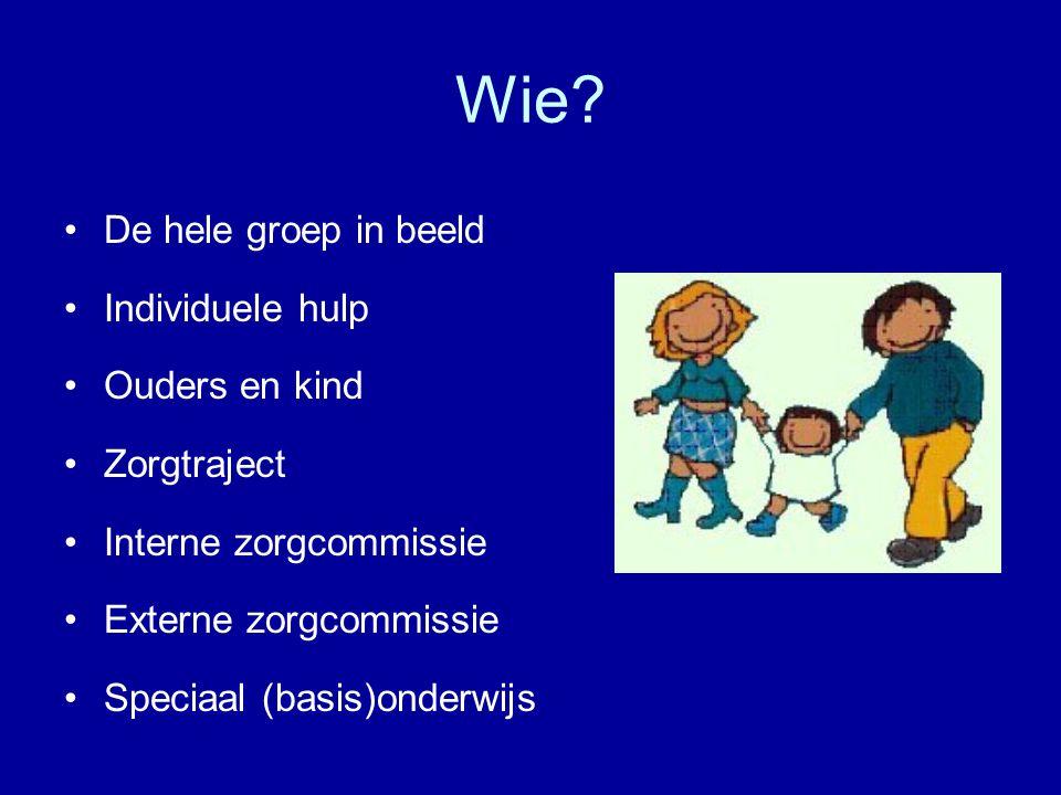 Wie - De hele groep in beeld Individuele hulp Ouders en kind