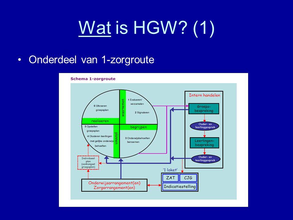 Wat is HGW (1) Onderdeel van 1-zorgroute