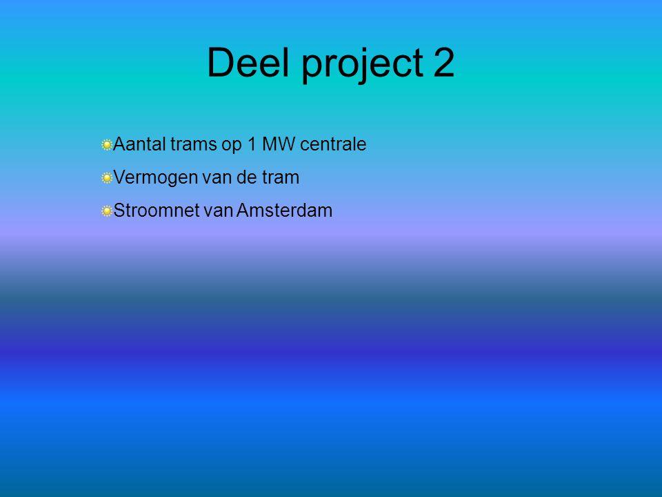 Deel project 2 Aantal trams op 1 MW centrale Vermogen van de tram