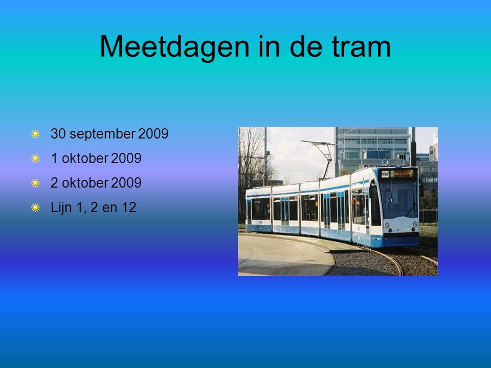Meetdagen in de tram 30 september 2009 1 oktober 2009 2 oktober 2009