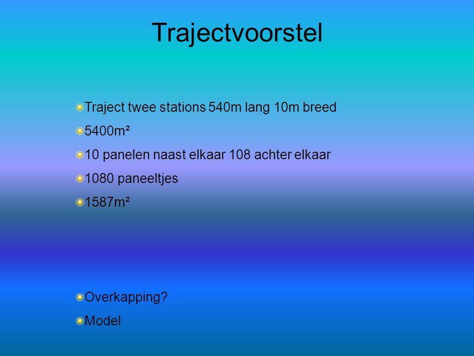 Trajectvoorstel Traject twee stations 540m lang 10m breed 5400m²