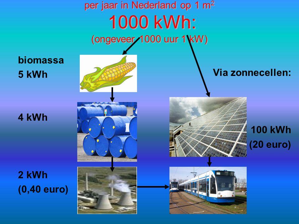 per jaar in Nederland op 1 m2 1000 kWh: (ongeveer 1000 uur 1 kW)