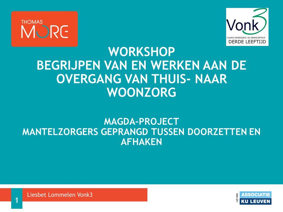 Workshop Begrijpen van en werken aan de overgang van thuis- naar woonzorg MAGDA-project Mantelzorgers Geprangd tussen doorzetten en afhaken