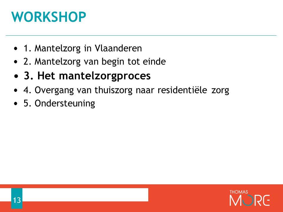 workshop 3. Het mantelzorgproces 1. Mantelzorg in Vlaanderen