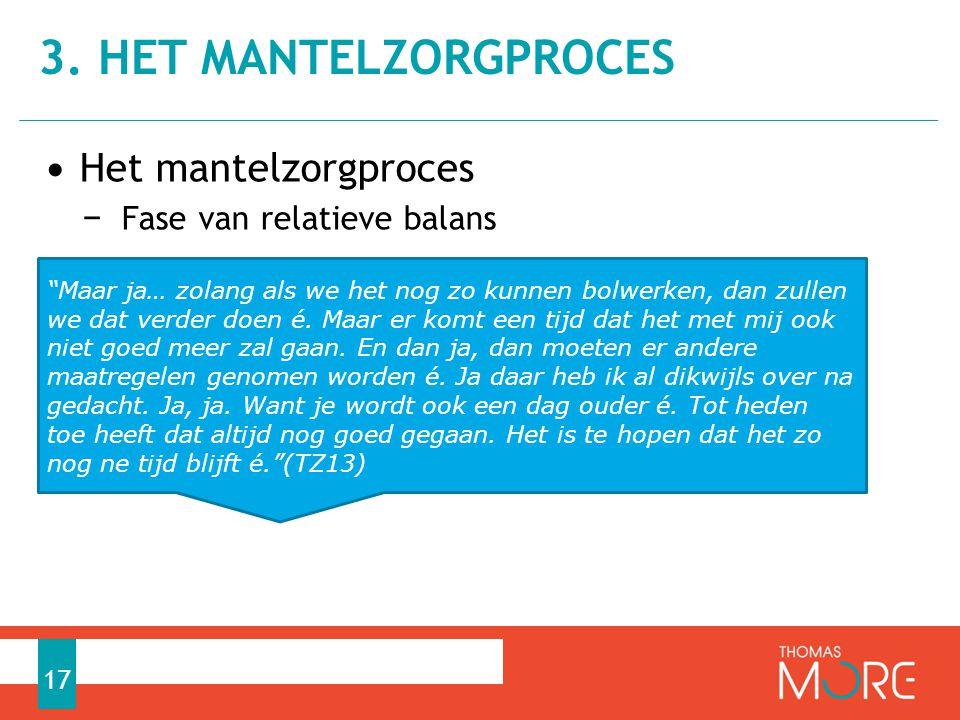 3. Het mantelzorgproces Het mantelzorgproces Fase van relatieve balans