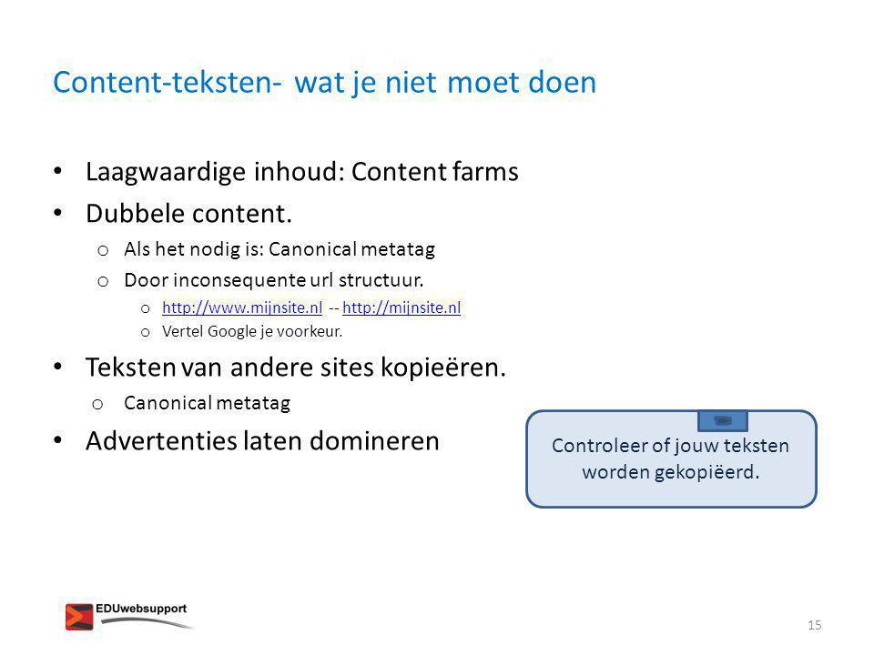 Content-teksten- wat je niet moet doen