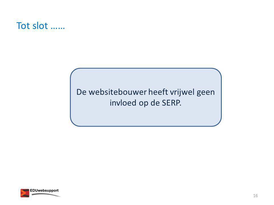 De websitebouwer heeft vrijwel geen invloed op de SERP.