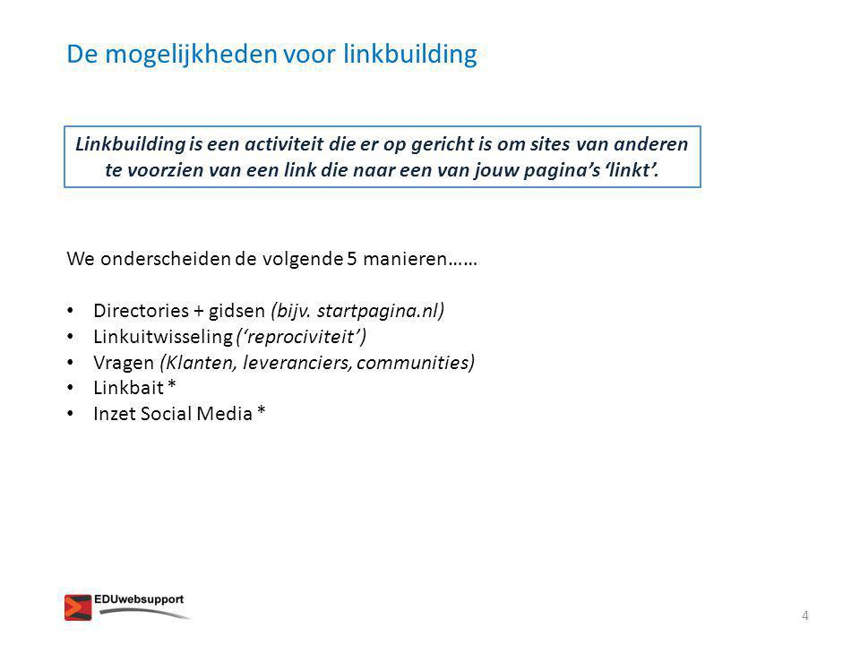 De mogelijkheden voor linkbuilding