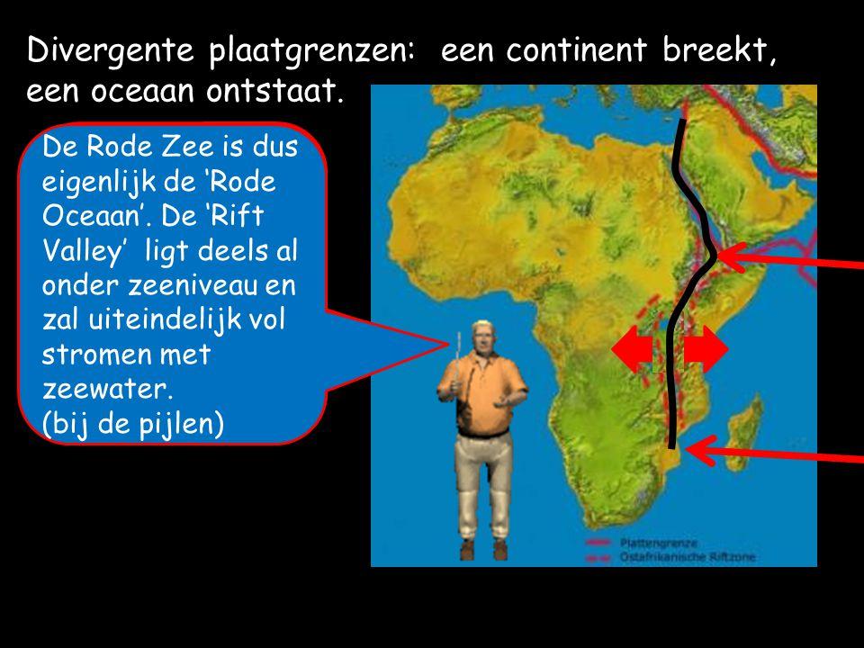 Divergente plaatgrenzen: een continent breekt, een oceaan ontstaat.