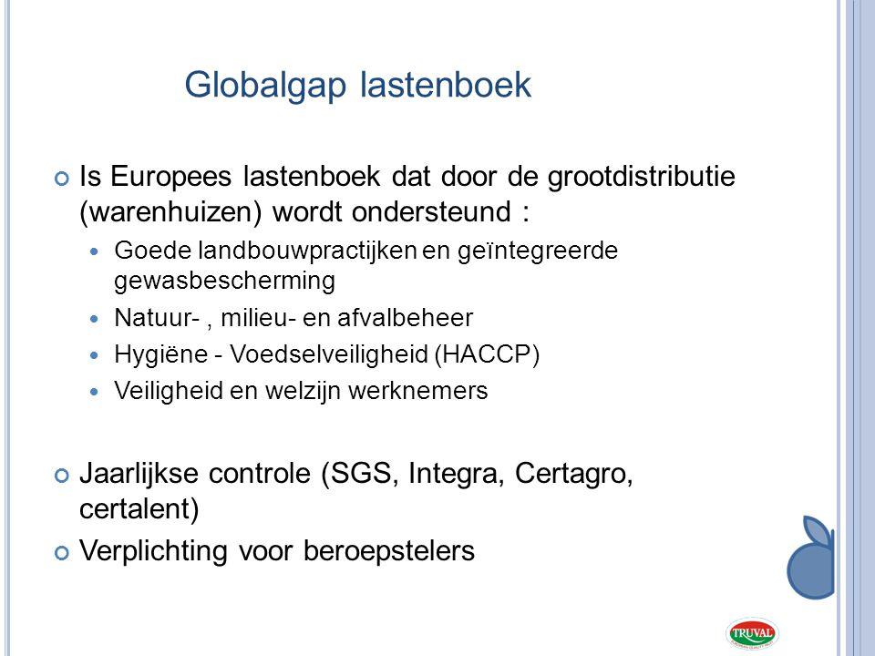 Globalgap lastenboek Is Europees lastenboek dat door de grootdistributie (warenhuizen) wordt ondersteund :