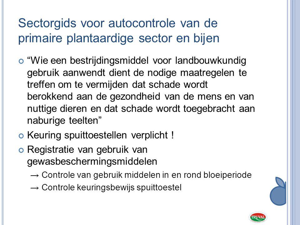 Sectorgids voor autocontrole van de primaire plantaardige sector en bijen
