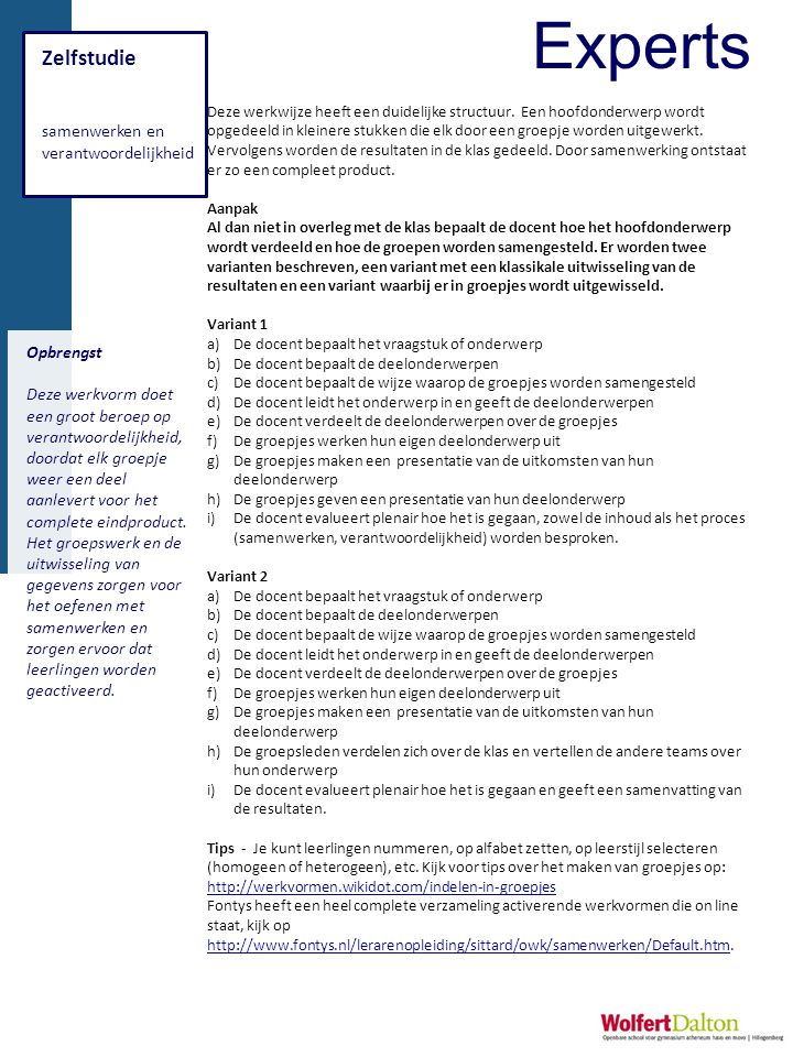 Experts Zelfstudie samenwerken en verantwoordelijkheid Opbrengst