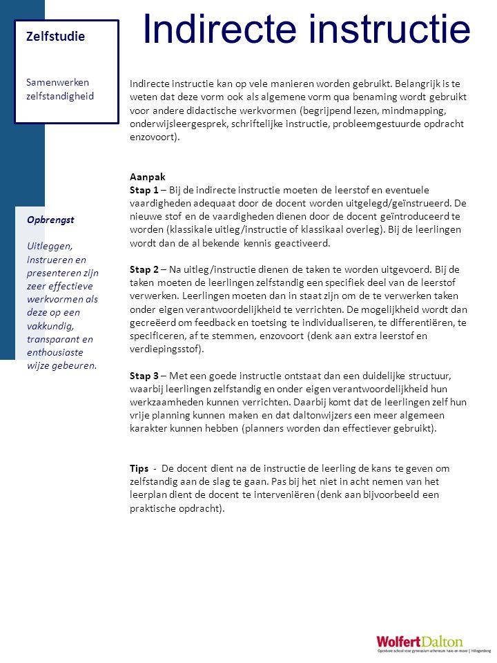 Indirecte instructie Zelfstudie Samenwerken zelfstandigheid
