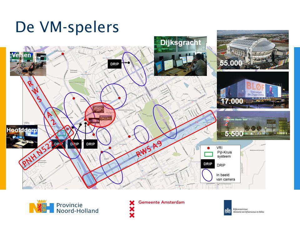 De VM-spelers Dijksgracht 55.000 RWS A2 17.000 RWS A9 PNH N522 5.500