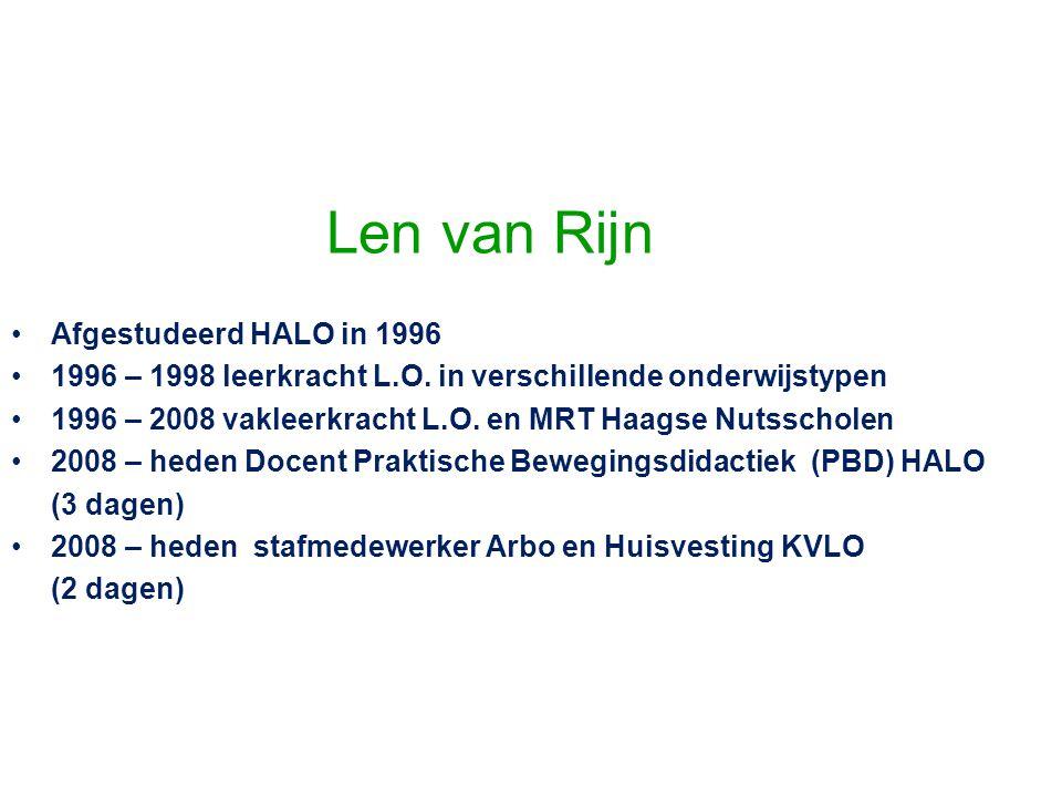 Len van Rijn Afgestudeerd HALO in 1996