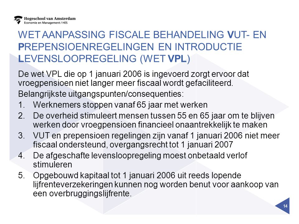 Wet aanpassing fiscale behandeling VUT- en prepensioenregelingen en introductie levensloopregeling (Wet VPL)