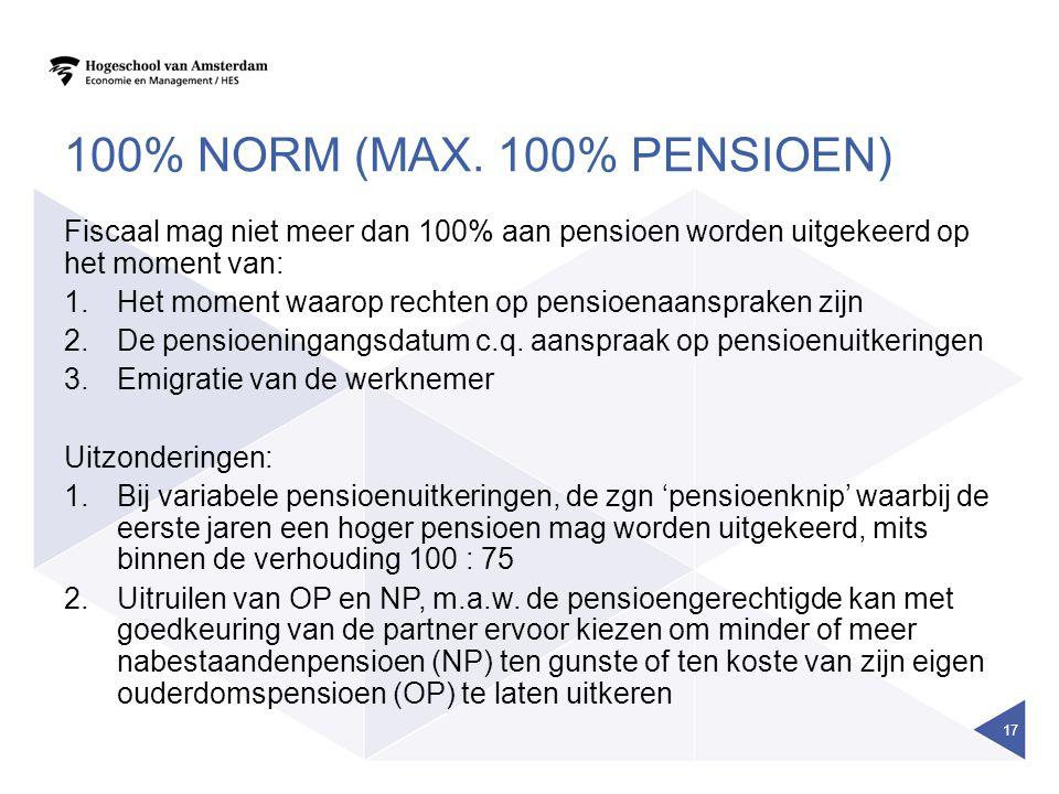 100% norm (max. 100% pensioen) Fiscaal mag niet meer dan 100% aan pensioen worden uitgekeerd op het moment van:
