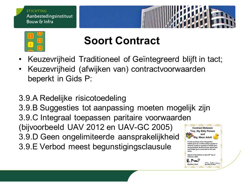 Soort Contract Keuzevrijheid Traditioneel of Geïntegreerd blijft in tact; Keuzevrijheid (afwijken van) contractvoorwaarden beperkt in Gids P: