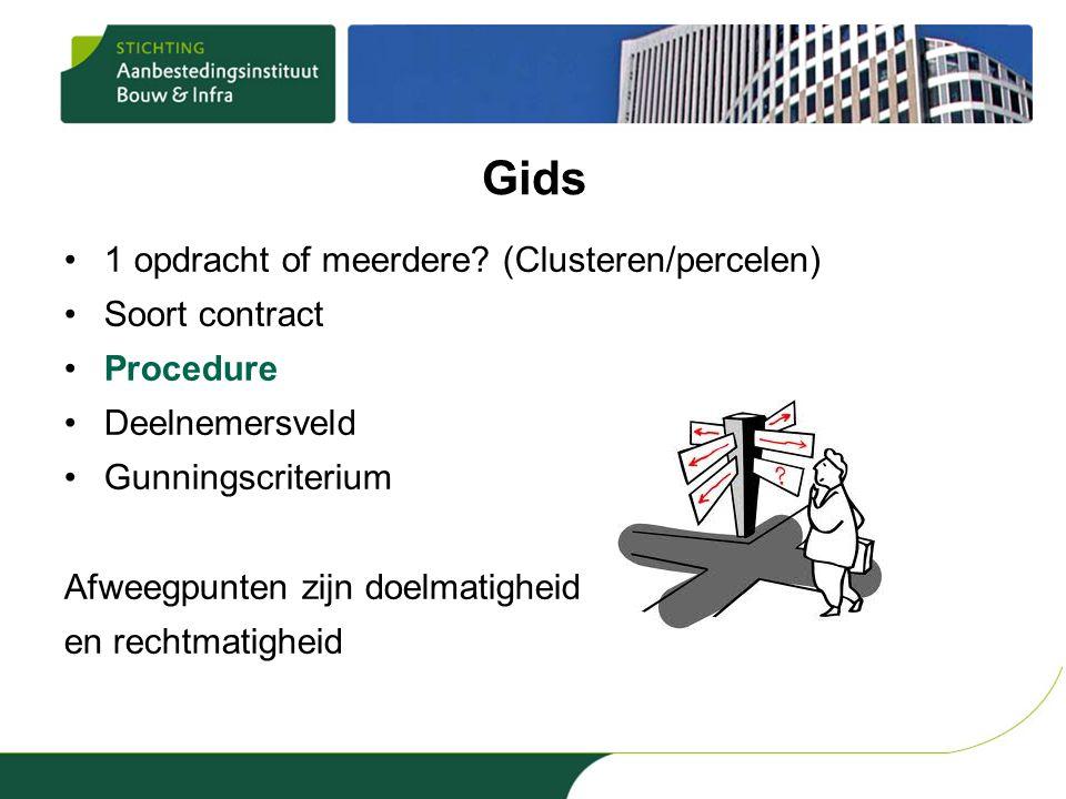 Gids 1 opdracht of meerdere (Clusteren/percelen) Soort contract