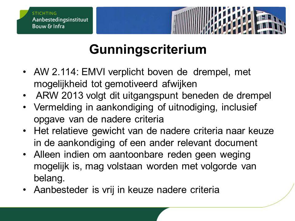 Gunningscriterium AW 2.114: EMVI verplicht boven de drempel, met mogelijkheid tot gemotiveerd afwijken.