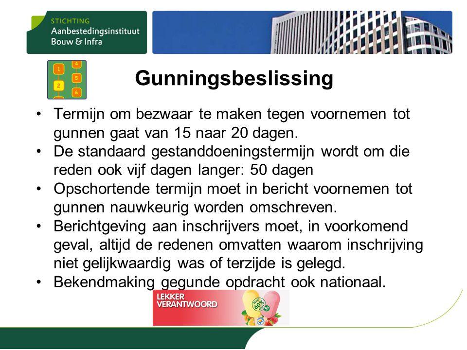 Gunningsbeslissing Termijn om bezwaar te maken tegen voornemen tot gunnen gaat van 15 naar 20 dagen.