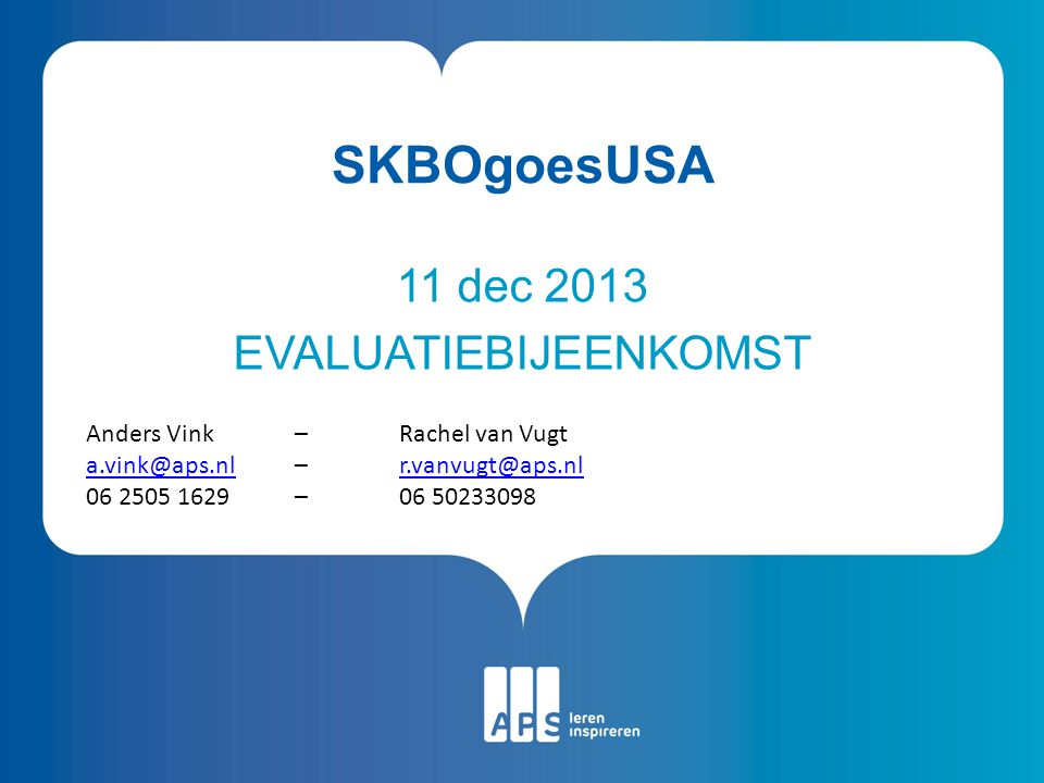 11 dec 2013 EVALUATIEBIJEENKOMST