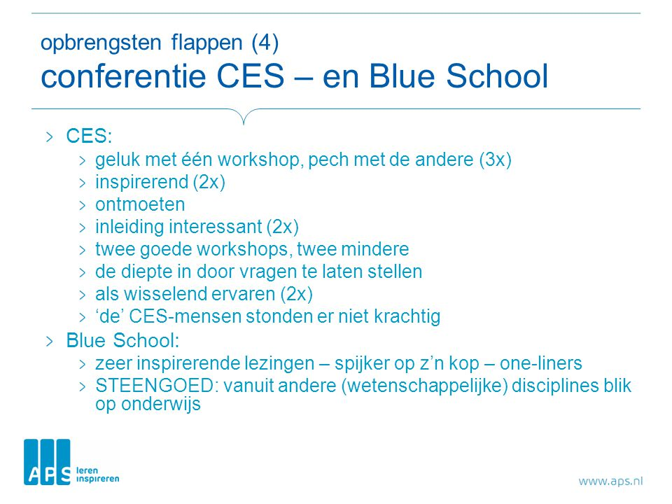 opbrengsten flappen (4) conferentie CES – en Blue School