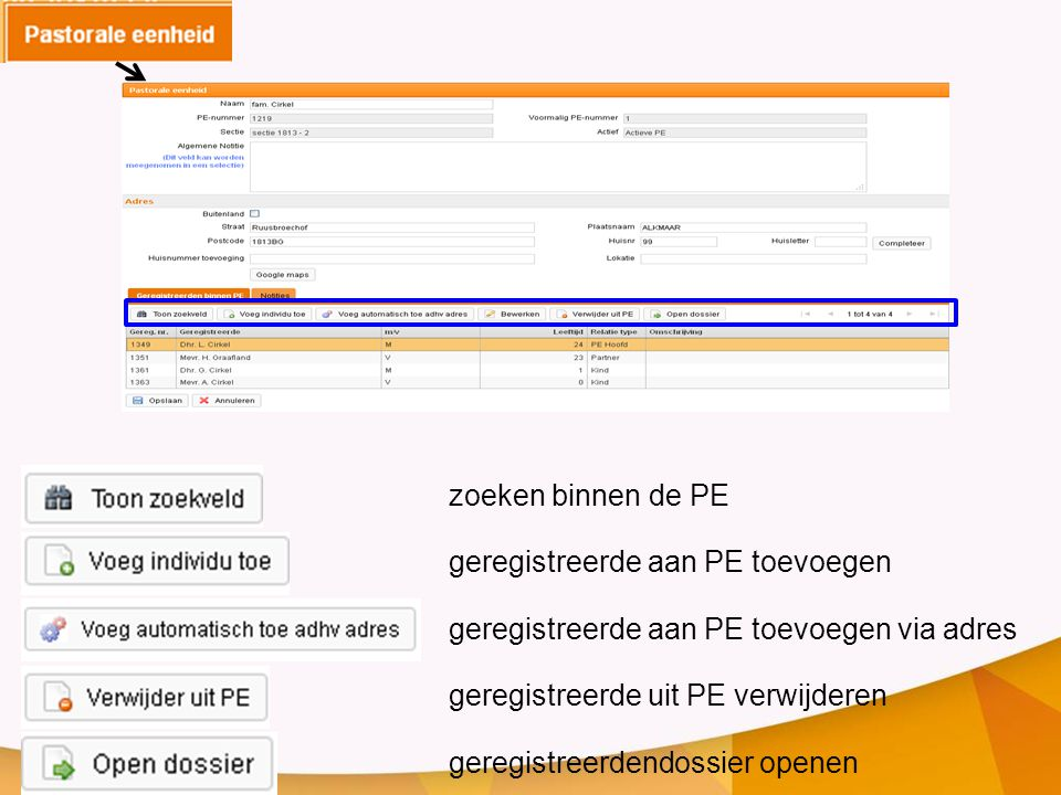 zoeken binnen de PE geregistreerde aan PE toevoegen. geregistreerde aan PE toevoegen via adres. geregistreerde uit PE verwijderen.