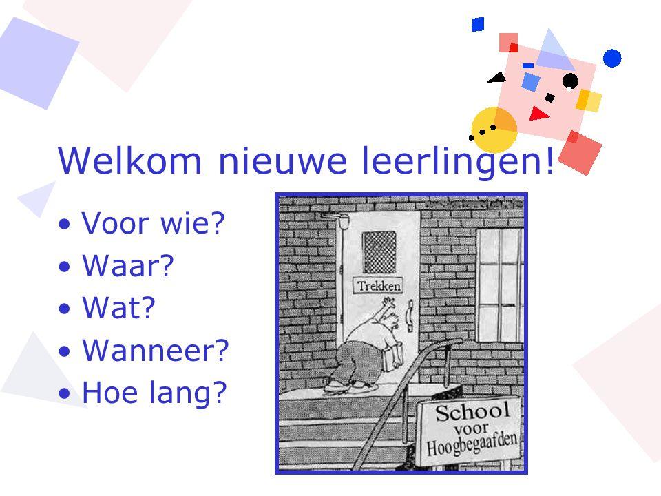 Welkom nieuwe leerlingen!