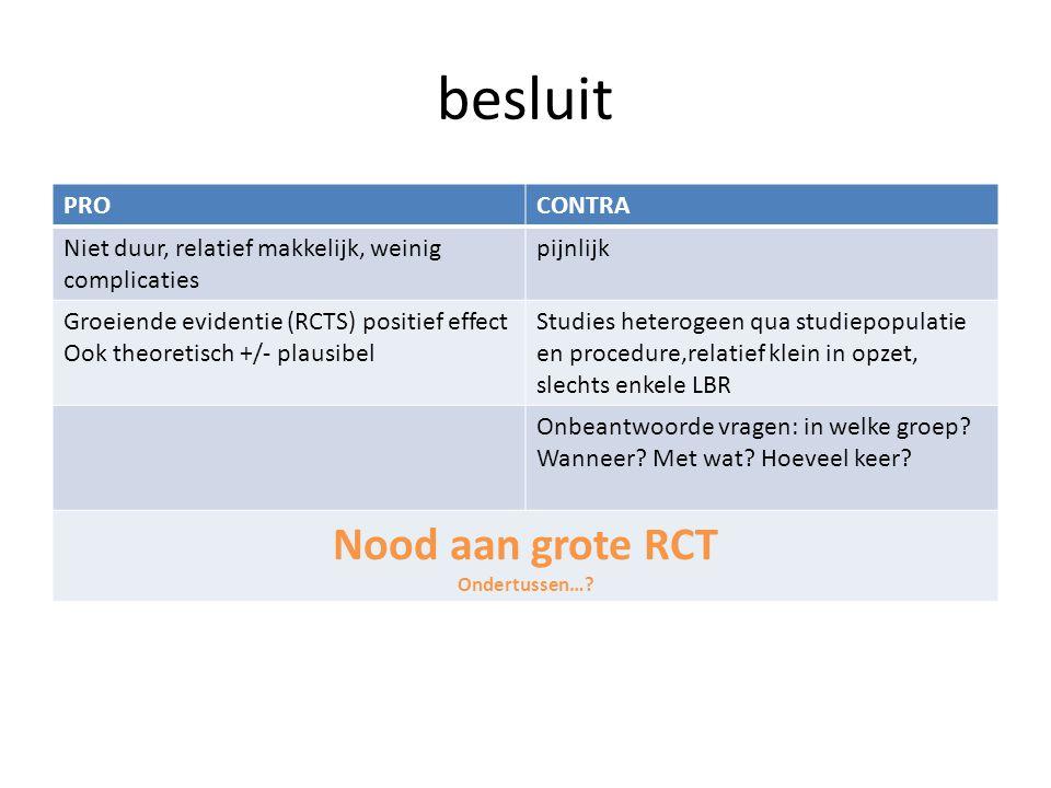besluit Nood aan grote RCT PRO CONTRA