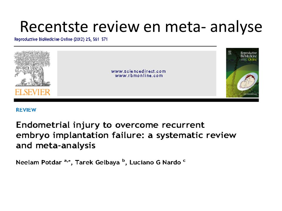 Recentste review en meta- analyse