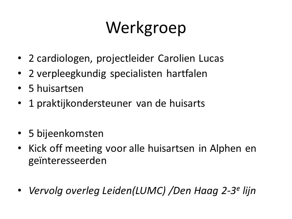 Werkgroep 2 cardiologen, projectleider Carolien Lucas