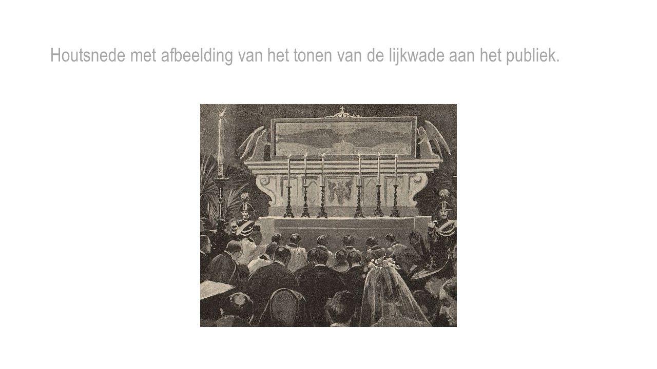 Houtsnede met afbeelding van het tonen van de lijkwade aan het publiek.