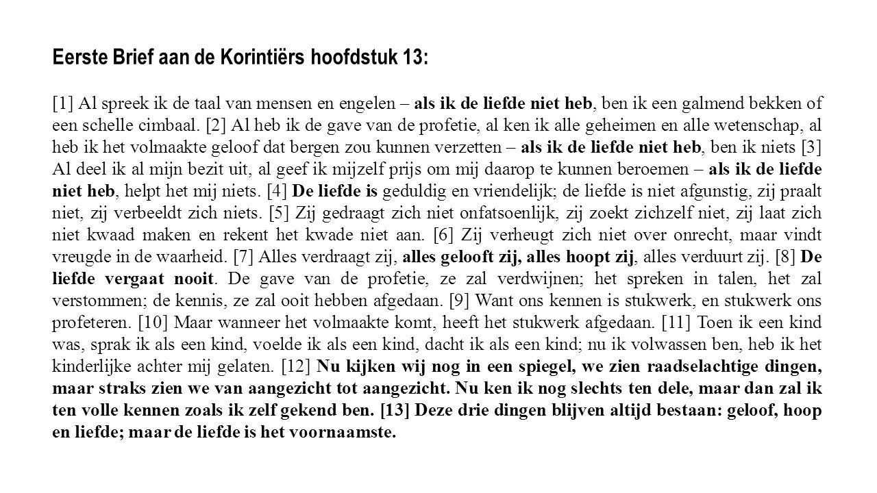 Eerste Brief aan de Korintiërs hoofdstuk 13: