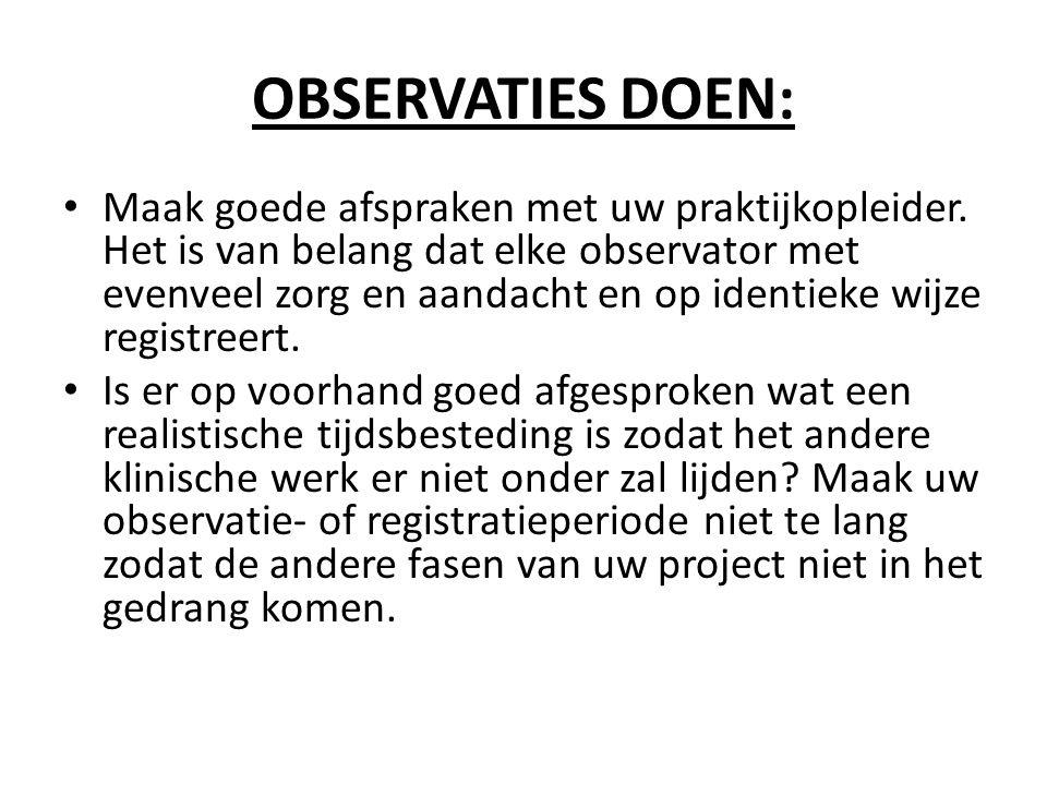 OBSERVATIES DOEN: