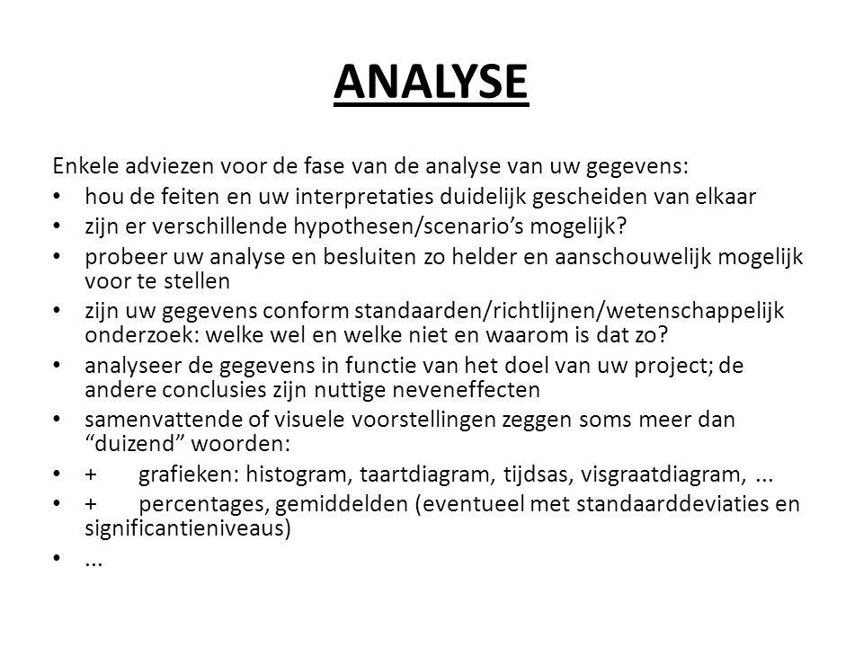 ANALYSE Enkele adviezen voor de fase van de analyse van uw gegevens: