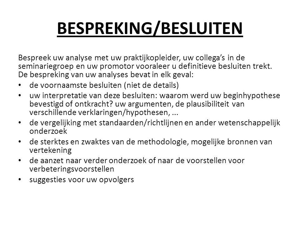 BESPREKING/BESLUITEN