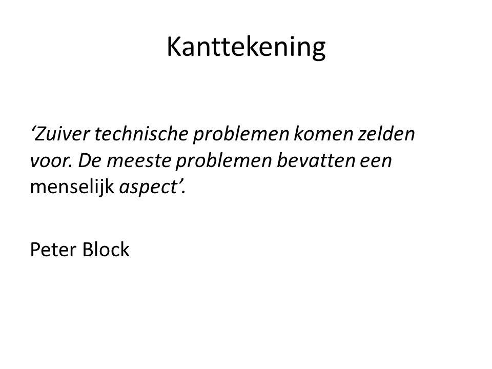 Kanttekening 'Zuiver technische problemen komen zelden voor. De meeste problemen bevatten een menselijk aspect'.
