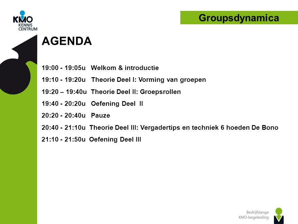 AGENDA Groupsdynamica 19:00 - 19:05u Welkom & introductie