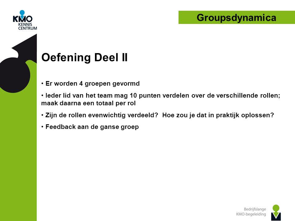 Oefening Deel II Groupsdynamica Er worden 4 groepen gevormd
