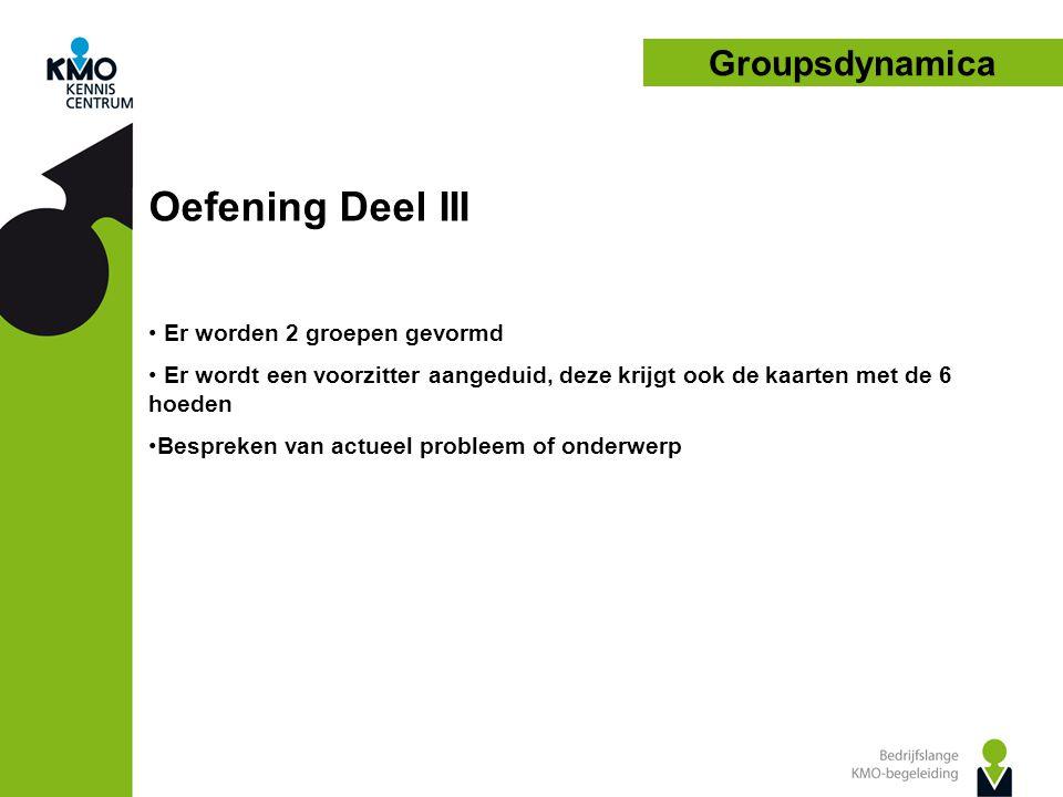 Oefening Deel III Groupsdynamica Er worden 2 groepen gevormd