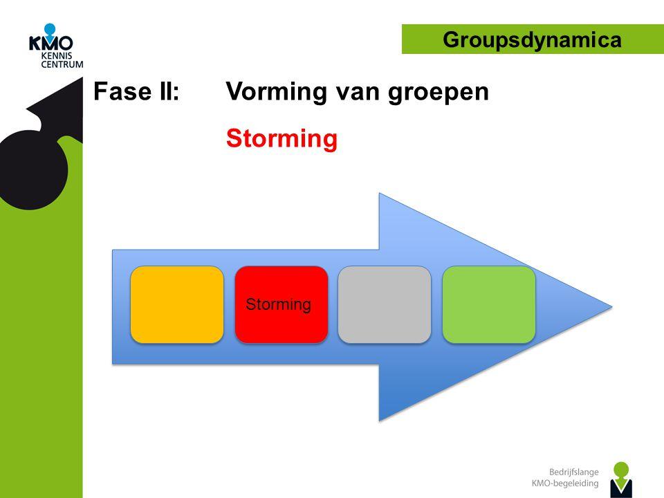Fase II: Vorming van groepen Storming