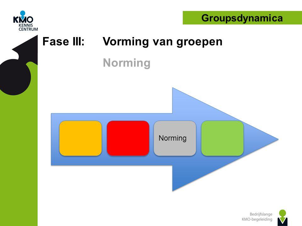 Fase III: Vorming van groepen Norming