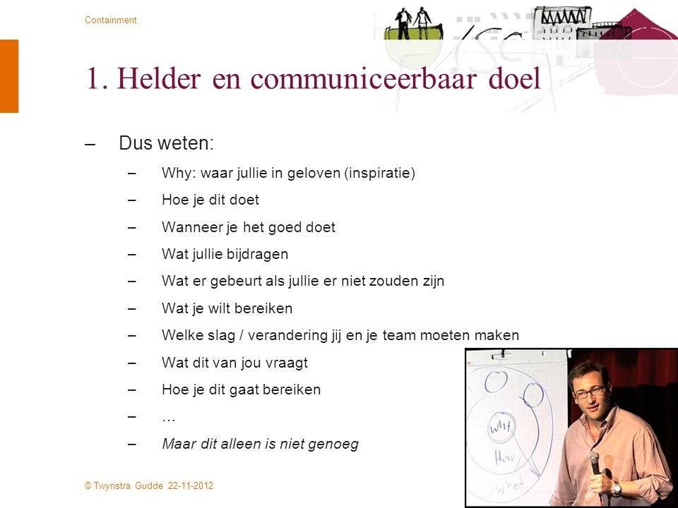 1. Helder en communiceerbaar doel