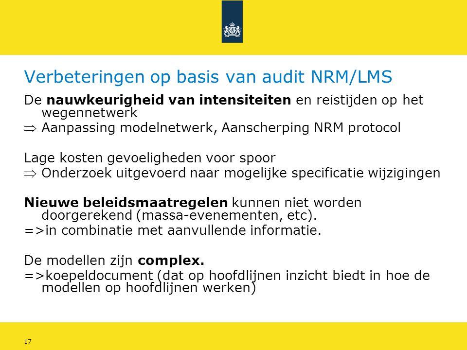 Verbeteringen op basis van audit NRM/LMS