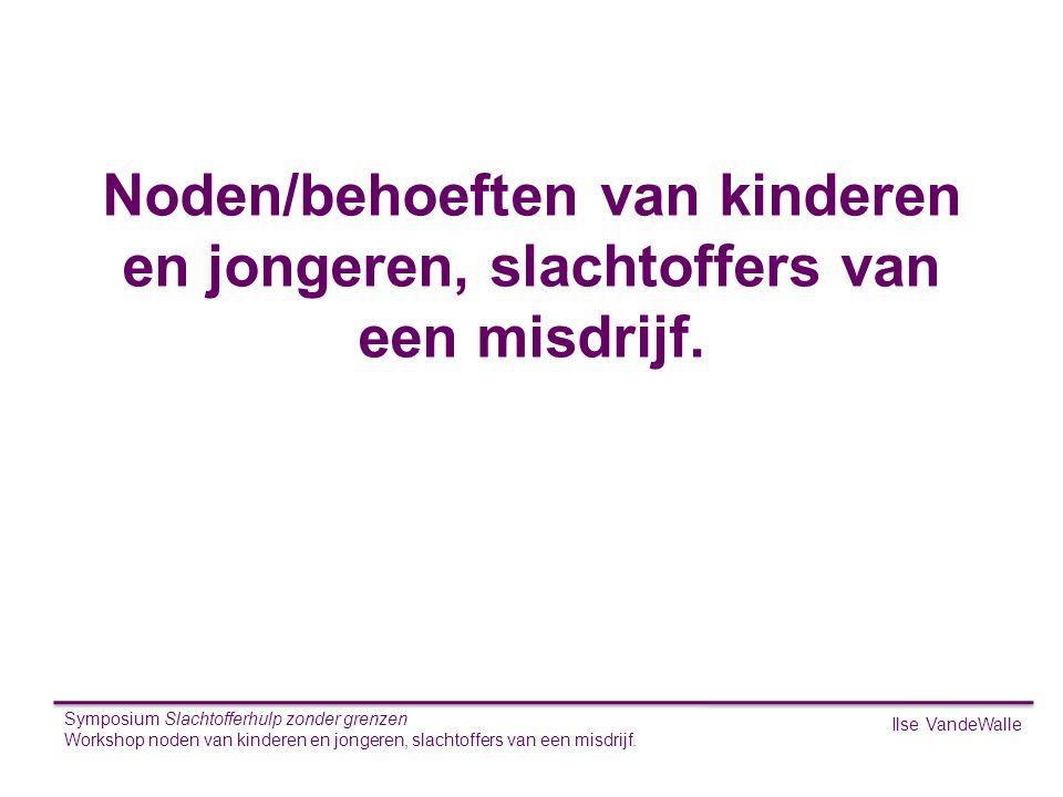 S Noden/behoeften van kinderen en jongeren, slachtoffers van een misdrijf. Symposium Slachtofferhulp zonder grenzen.